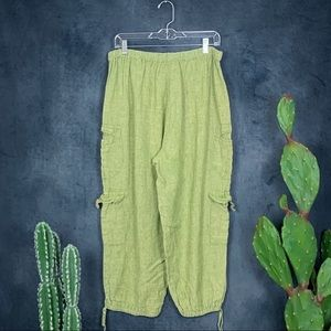 Flax Pants - Flax Pear Green Linen Cropped Cargo Pants Jogger L